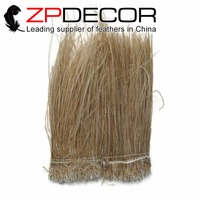ZPDECOR High Quality 2 yards/lot Beige Peacock Feathers Strung for DIY or Carnival Decor