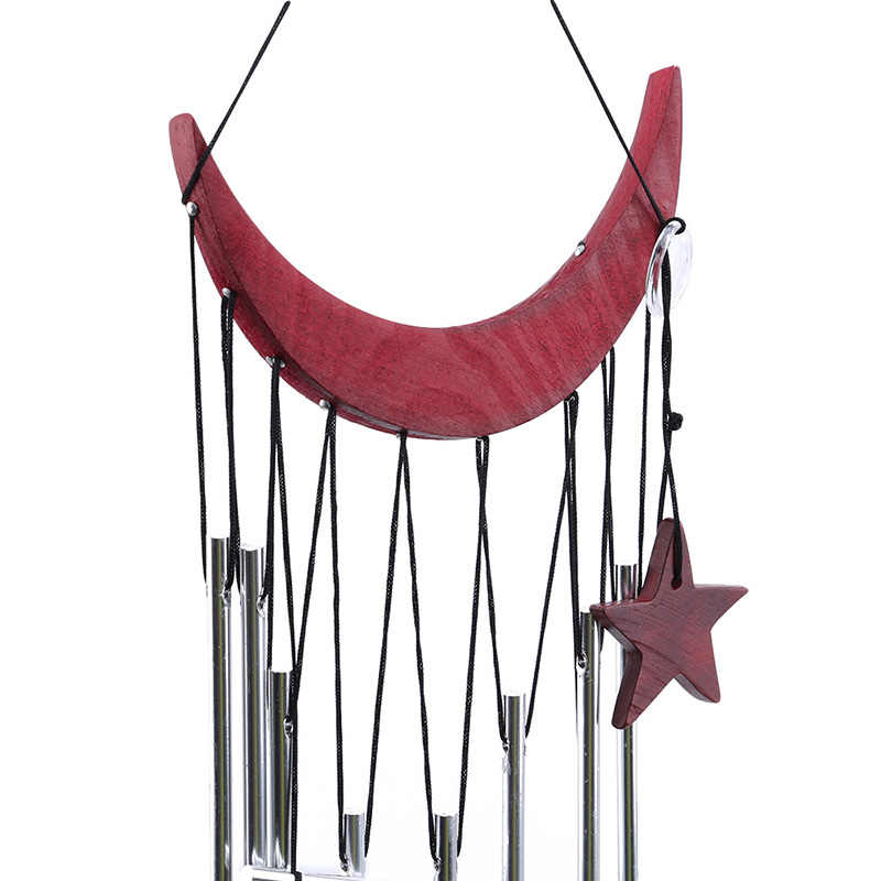 Home Decor Moon Star Wind Chimes Yard Garden Wooden Metal Wind Chime Home Decoration Accessories