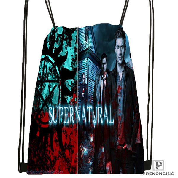 Custom Supernatural_Season Drawstring Backpack Bag Cute Daypack Kids Satchel (Black Back) 31x40cm#2018612-01-19