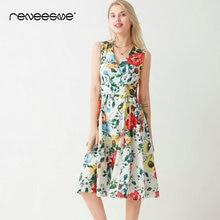 2019 new summer women dress sleeveless v neck bow tie sashes print A line ladies dresses bohemian mid-calf chic pleated vestidos