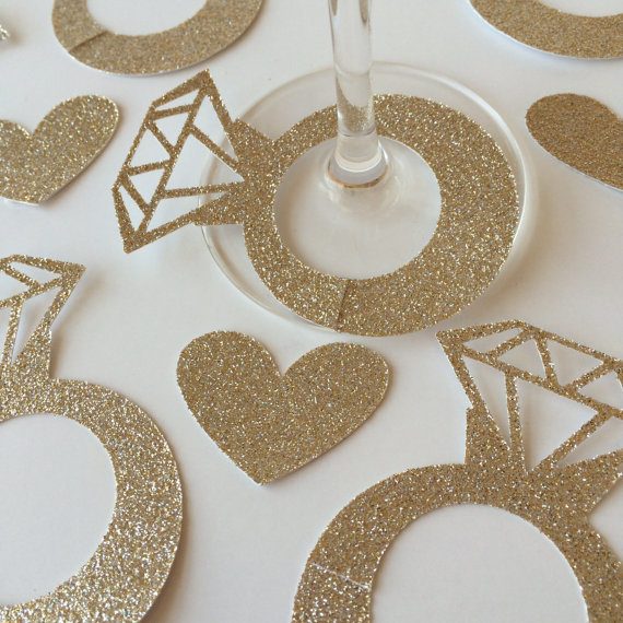 antique gold Diamond Glass Ring Wine Drink Marker Name Tags Charms Wedding  Party Bachelorette Bridal shower place table cards-in Cards   Invitations  from ... 4f62b1ea2138