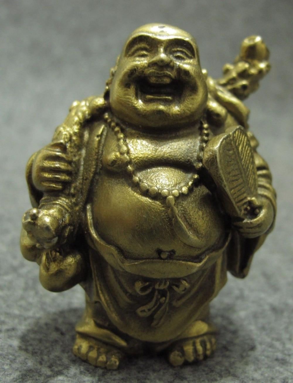 117 ز + الصينية نقية النحاس القرع مروحة حقيبة سعيد اضحك مايتريا بوذا تمثال بوذي-في تماثيل ومنحوتات من المنزل والحديقة على title=