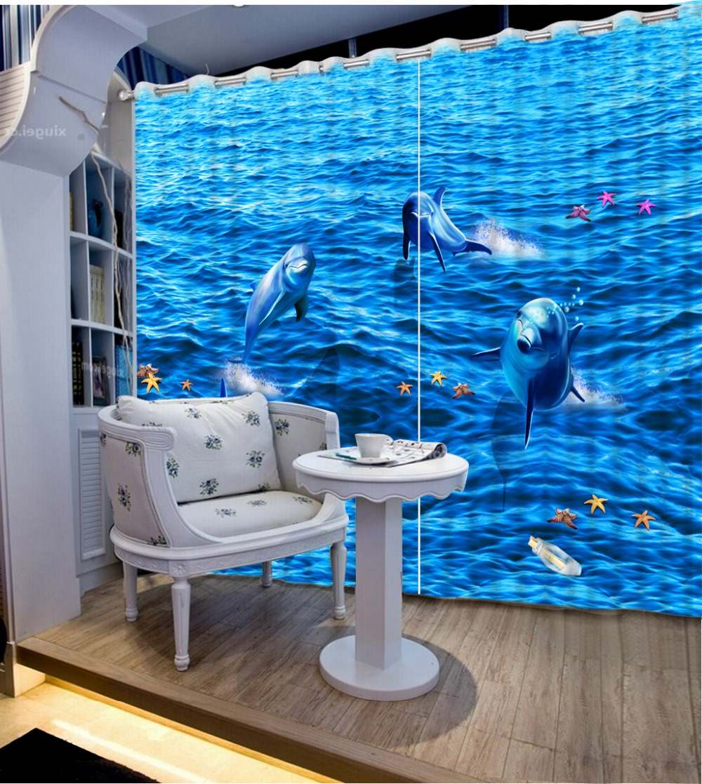 Fashion Decor Home Decoration For Bedroom Decorative Window Curtains Ocean  Dolphin Window Curtains For Living Room
