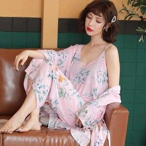 Image 3 - Pyjama chaud en coton pour Femme, nouvelle collection, manches longues, doux, ensemble 3 pièces printemps automne, fleurs