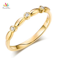 Peacock Star 14K Solid Yellow Gold Wedding Band Stackable Ring 0.03 Ct Diamond