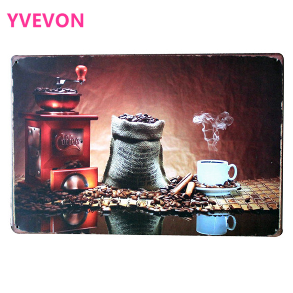 COFFEE and BEAN GRINDER Classic Tin Sign Decorative board for hotel lounge rome restaurant bar club wall art LJ5 17 20x30cm B1 in Plaques Signs from Home Garden