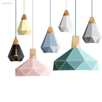 Nordic Wood Pendant Lights For Home Lighting Modern Hanging Lamp Iron Lampshade LED Bulb Bedroom Coffee
