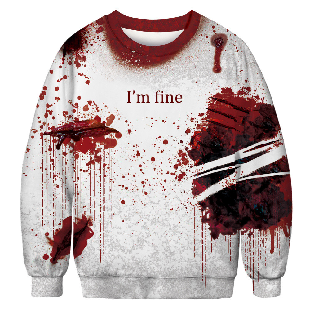 Women casual skeleton 3d print long sleeve bloodstain sweatshirt pullover top autumn winter fashion trend round neck warm top