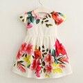 European style Summer 2017 children dress for kids floral print dress girls fly sleeve princess vestidos robe fille