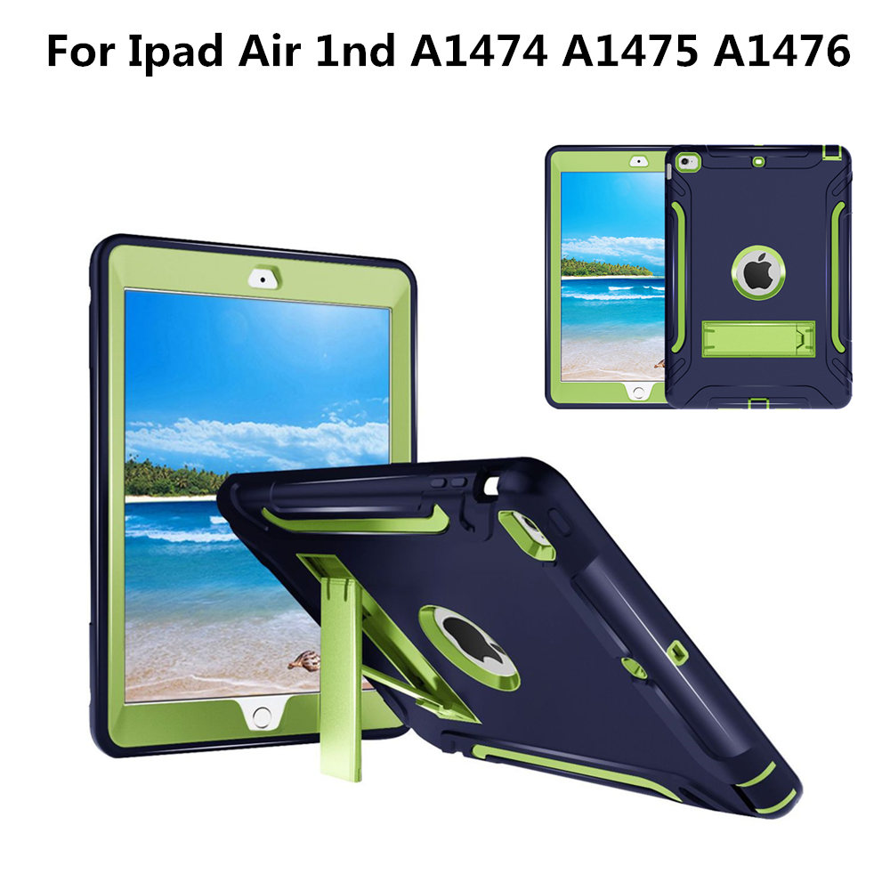 Armor Heavy Duty Case For iPad Air 1 A1474 A1475 A1476 Cover Funda Tablet Kids Safe Shockproof Soft Silicone Hard Stand Shell