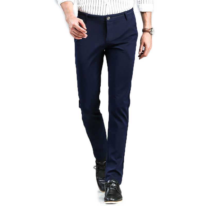 2020 Spring Non-Iron Dress Men Classic Pants Fashion Business Chino Pant Male Stretch Slim Fit Elastic Long Casual Black Trouser