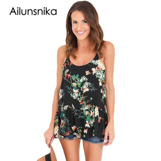 d3e17ecf68c71 Ailunsnika Summer Spaghetti Strap Top Women Flounced Ruffles Black Floral  Print Racerback Tank Camis blusa de renda DL250130-in Camis from Women's ...