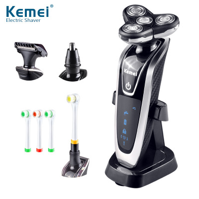 Kemei KM-5181 3D electric shaver kemei men shaving machine nose & hair trimmer toothbrush 4 in 1 washable rechargeable razor multifunction electric shaver razor washable shaving machine with hair clipper nose trimmer washing face toothbrush 3d rotary