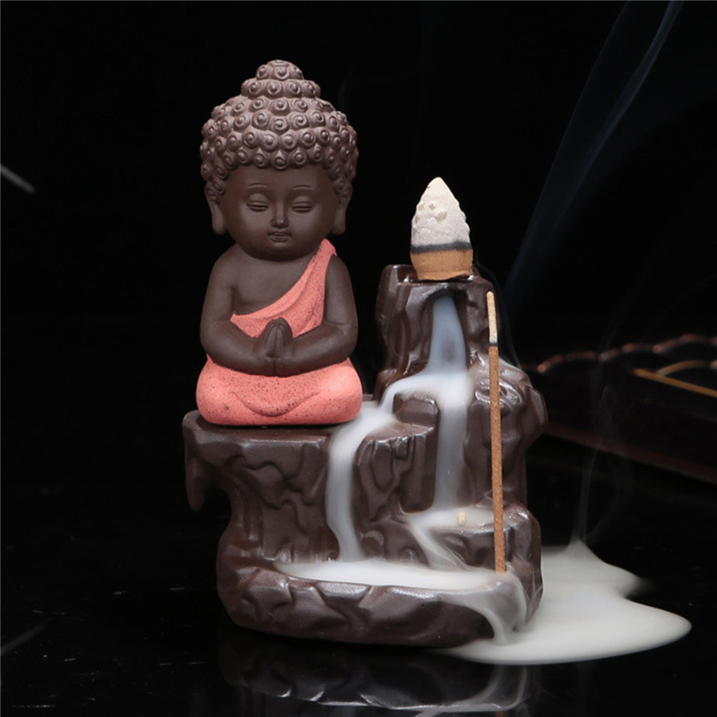 Hot sell cheap buddha ceramic incense burner censer holder set with joss sticks home decoration living room bedroom office decor