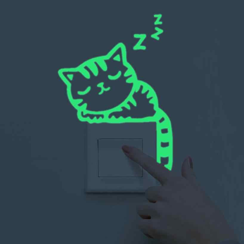 Lovely Cat Light Switch Phone Wall Stickers For Kids Rooms Diy Home Decoration Cartoon Animals Wall Decals Pvc Mural Art 18July9