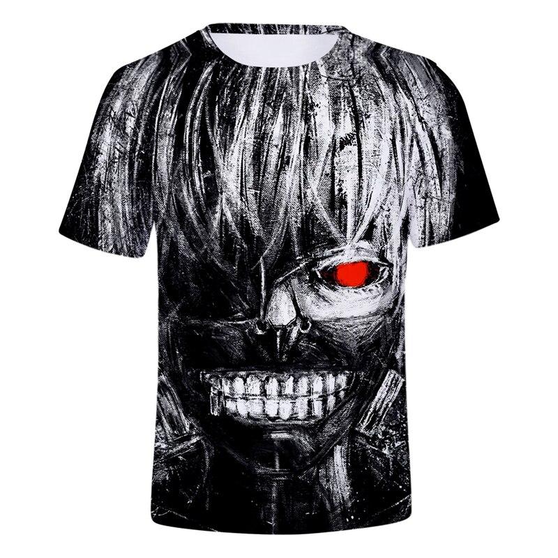 Hip Hop Tokyo Ghoul Series Horror 3d Tshirts Men Women Summer Cool Cartoon Charcter T shirts Short Sleeve Men Hipster Tees