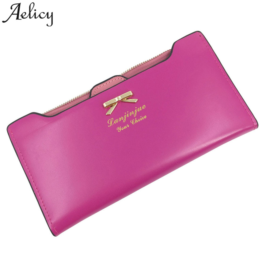 Aelicy Long Wallet Women PU Leather Metal Bow Letter Print Purse Female Coin Pocket Card Holder Casual Button Lady Wallet S23 women wallet card wallet female purse leather trifold long coin holder phone wallet metal christmas deer cash pocket fashion