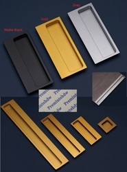 Ze stopu aluminium ze stopu aluminium wpuszczone Flush Finger Pull uchwyt meble przesuwne drzwi szafka szafa złoty/szary/czarny matowy w Klamki do drzwi od Majsterkowanie na