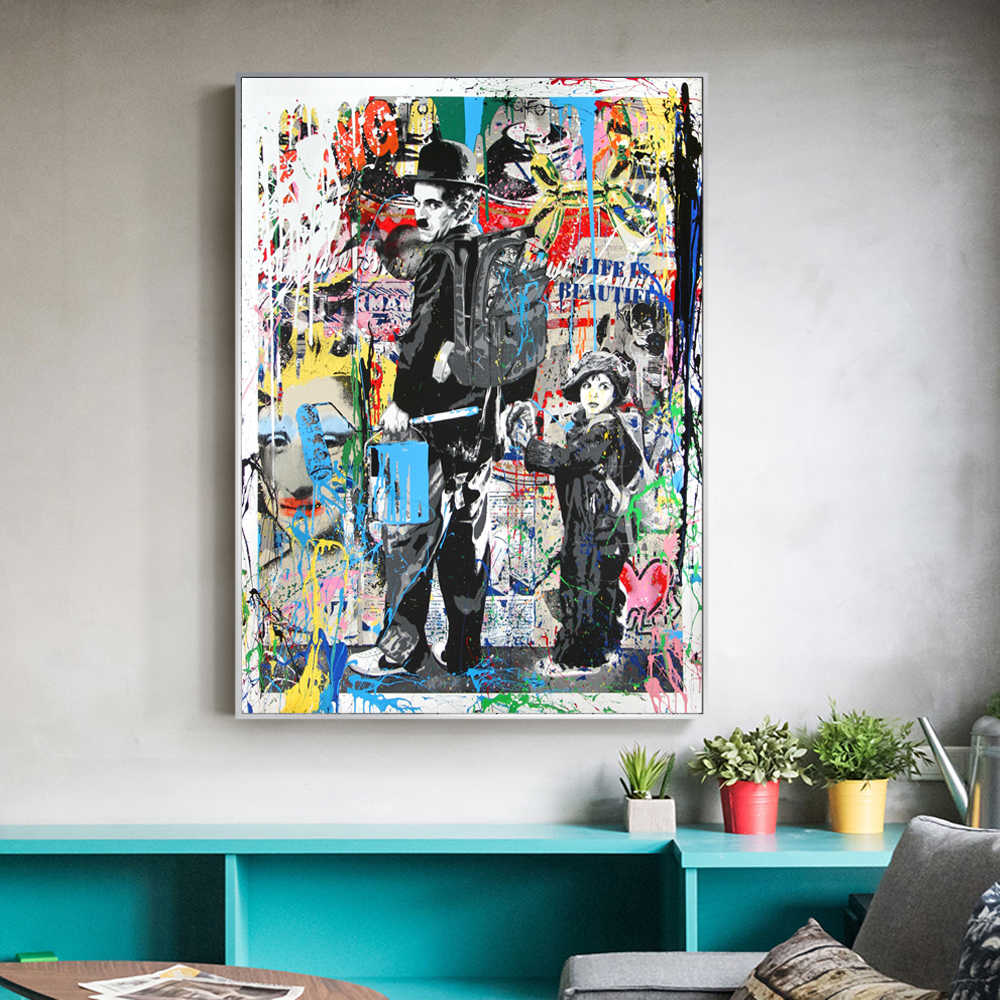 Abstract Wall Graffiti Art Canvas Prints Chaplin With A Child Posters And Prints Pop Street Art Paintings For Living Room Cuadro