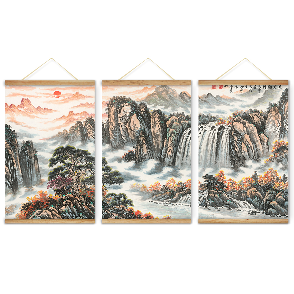 Wooden Scroll Wall Art Rising Sun Chinese Landscape Decoration Wall Art Pictures Hanging