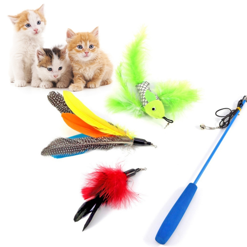 1 Set Cat Teaser Wand Natural Feather Cat Toy on a 35-Inch Wand with 3 Furry Feathers gatos Cats Supplies