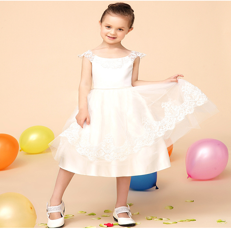 A-Line Flower Girls Dresses For Wedding Gowns Sleeveless Mother Daughter Dresses Lace Glitz Pageant Dresses for Little Girls