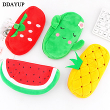 Cute Fruit Watermelon Cactus Plush Pencil Case Cosmetic Bag Pen Box for Girls Gift Stationery Pouch School Office Supplies dispalang kids mini pencil case box pen bags for school gold stars printing women cosmetic case children stationery pouch office
