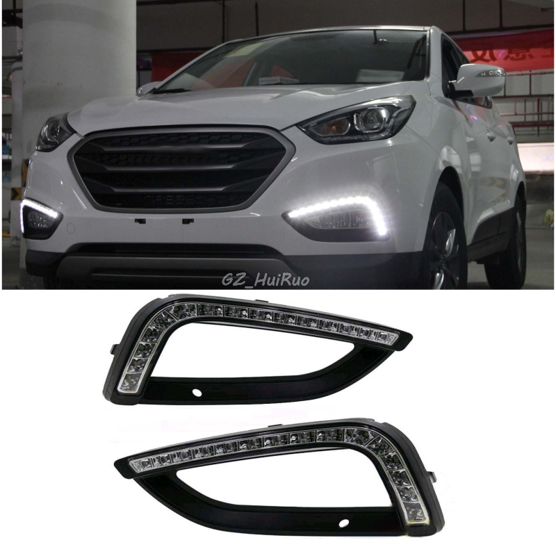 Car styling 2 PCS For Hyundai IX35 Daytime Running Light LED DRL Fog Lamps Tucson 2010 2011 2012 2013 Waterproof dongzhen 1 pair daytime running light fit for volkswagen tiguan 2010 2011 2012 2013 led drl driving lamp bulb car styling