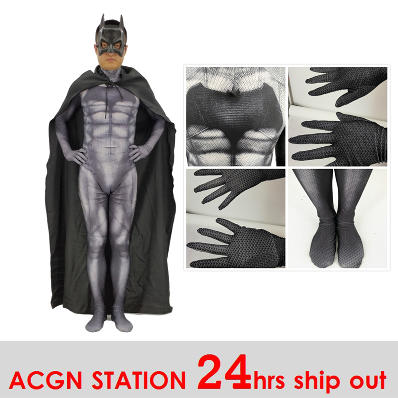 Batman 24 Hrs Shipped Out Men's Deluxe Muscle Dark Knight Batman 3D Print Cosplay Dress Male Batman Cosplay Bodysuits Jumpsuits