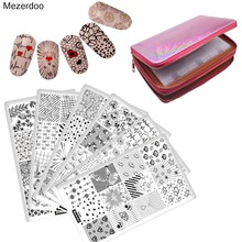 10Pcs Leaves Flowers Skull Animal Nail Art Stamp Image Stamping Plate Template + 96 Slots Collection Bag Sets Pink Manicure Kits