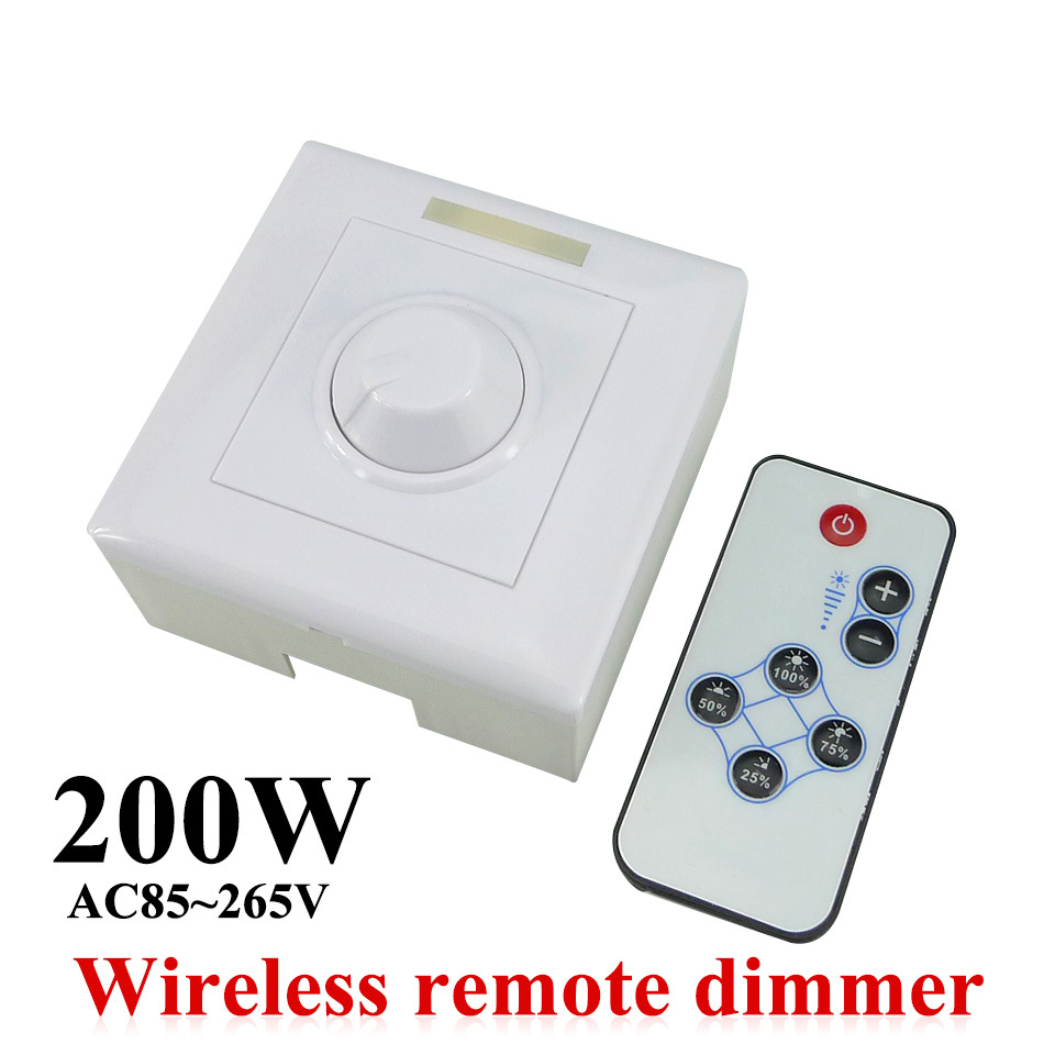 ac85 265v 200w led dimmer ir knob remote control switch. Black Bedroom Furniture Sets. Home Design Ideas
