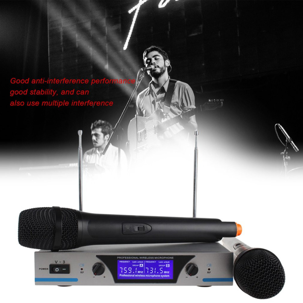 Professional Wireless Microphone Karaoke Digital LED Display Handheld Microfone with Receiver Transmitter Set for KTV Home professional handheld dynamic karaoke mic vhf wireless microphone system with receiver for ktv fio microfone mikrofon microfono