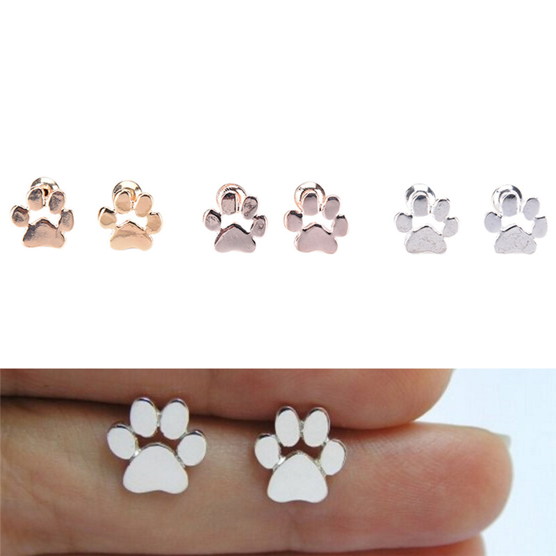 2017 Silver Stud Earring Girl Cute Animal Cat And Dog Paw