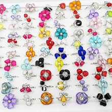 10pcs Charms Fashion Silver Plated Crystal Rhinestone Mixed Flower Butterfly Adjustable Finger Rings for Women Girls