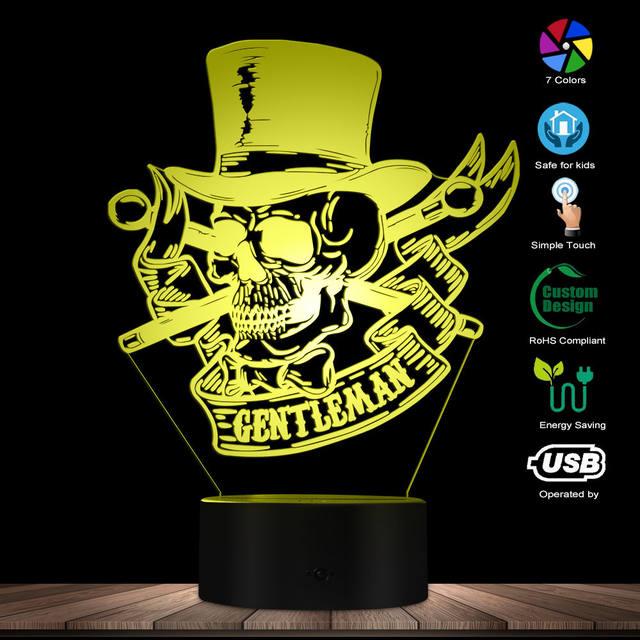 3D LED LAMP MR GENTLEMAN SKULL