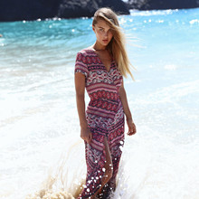 Summer Beach Maxi Dress Women Sexy Bohemian Short Sleeve Ruffles V-Neck Bandage Dresses Bodycon Dress Casual Boho Dress цены