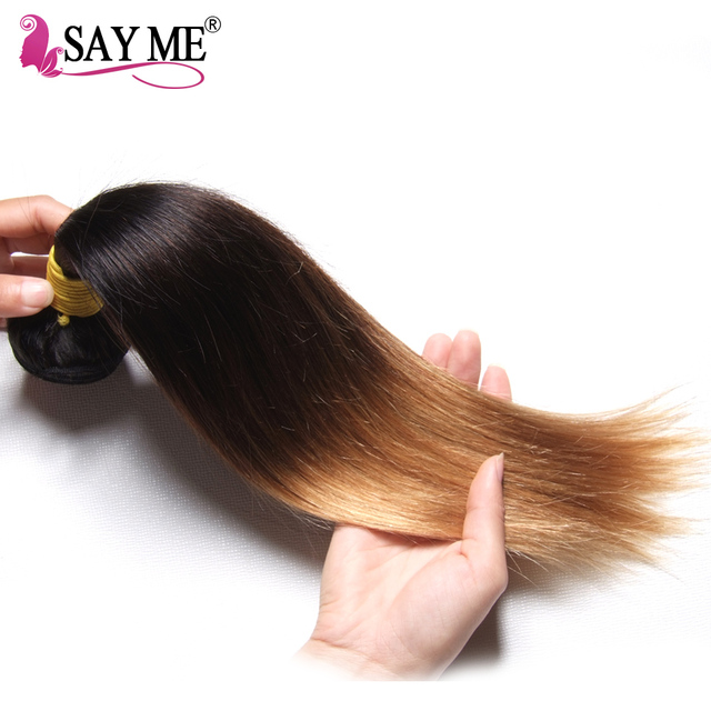 SAY ME 1 PC Ombre Brazilian Straight Hair Bundles Three Tone Blonde Ombre Human Hair Weave Bundles  Remy 1b/4/27 Extensions