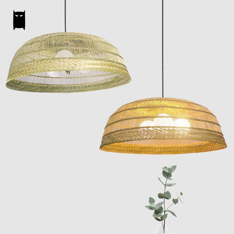 Bamboo Wicker Rattan Straw Hat Lampshade Pendant Light Fixture Nordic Vintage Rustic Country Asian Art Deco Hanging Lamp Design rattan wicker pendant lights kitchen restaurant vintage bird cage lampshade classical chinese light modern design decoration