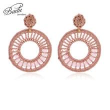 Badu Big Round Crochet Earrings for Women Hollowing Circle Pendant Dangle Drop Vintage Fashion Jewelry Gift Girls