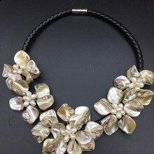 LJHMY ожерелье с цветком из натурального белого пресноводного культивированного жемчуга для женщин