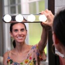 Kit de 4 bombillas LED para maquillaje, luz de maquillaje portátil para estudio, súper brillante, con batería, para Baño