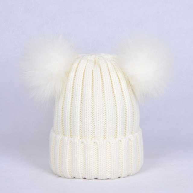 Moda dos pompón Beanie sombreros Bola de imitación Pompones tejer ...