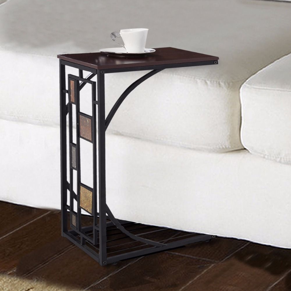 Coffee Tray Side Sofa Table Ottoman Couch Room Console Stand End TV Lap Snack HW49716 Wrought Iron Coffee Table With Glass Top