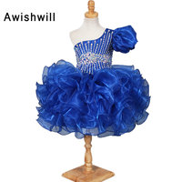 ראשית הקודש שמלות לבנות תחרות פרח שמלת ילדה רויאל בלו כתף אחת Beadings אורגנזה באורך הברך ילדה יום הולדת