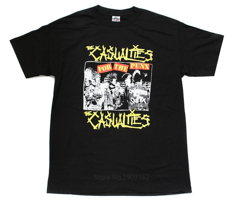 Male Designing T Shirt  Crew Neck The Casualties Punk Band Embroidered Men Short Sleeve Tall T Shirt