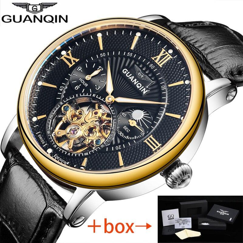 Relogio Masculino GUANQIN Automatique Tourbillon Hommes Montre Mécanique D'or Top Marque De Luxe en cuir Squelette Montre-Bracelet 16036 D