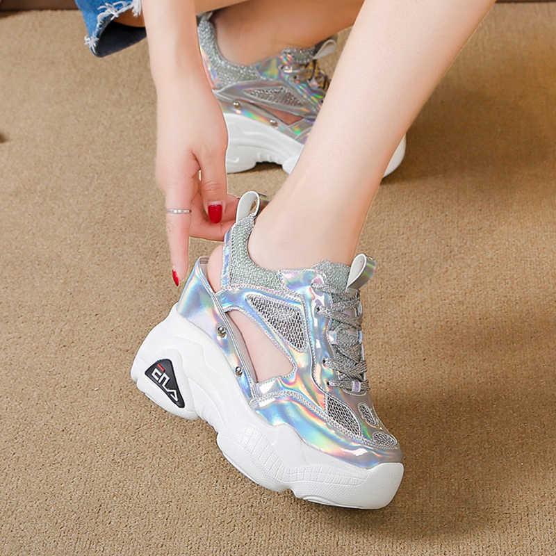 2019 yaz kadın spor ayakkabı örgü yüksek platformu eğitmenler beyaz ayakkabı 9CM topuklu takozlar sandalet nefes kadın rahat yaz ayakkabı