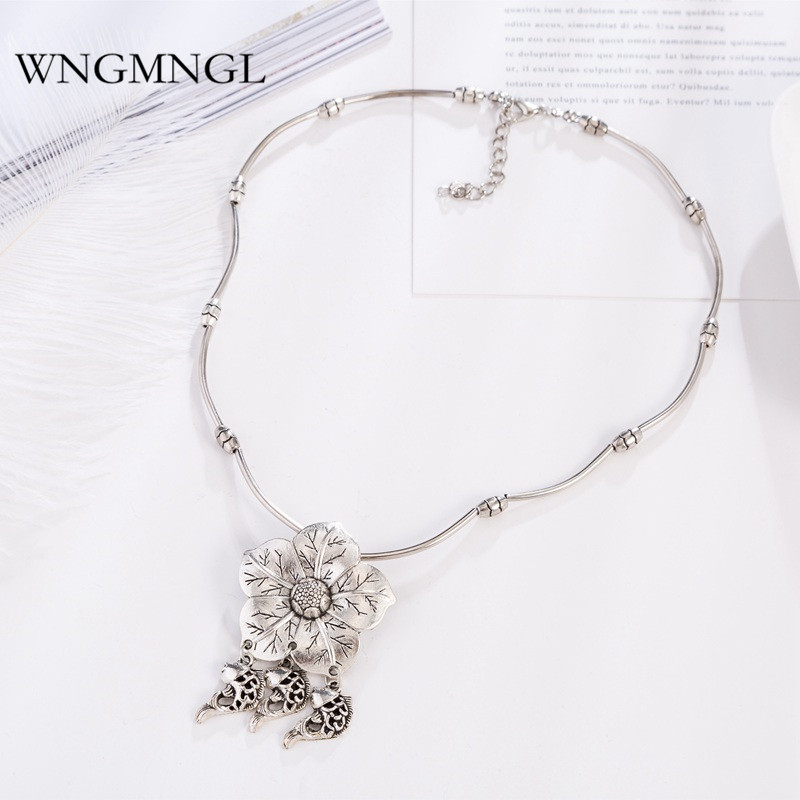 WNGMNGL 2018 New Vintage Enthic Antique Sliver Color Flower Fish Pendant Necklace For Women Sweater Fashion Jewelry Pendanties