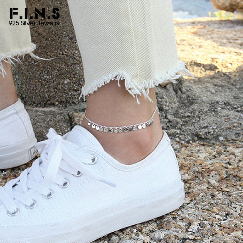 F.I.N.S Bohemia 925 Sterling Silver Round Sheet Anklet Barefoot Sandals Link Chain Anklet Silver 925 Foot Jewelry for Women