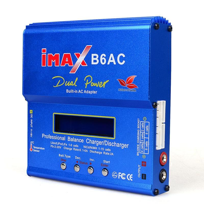 Construir-Power IMAX B6 AC 80 W B6AC Lipo NiMH 3 S/4S/5S RC Balance de la batería cargador + EU US AU UK plug cable de alimentación